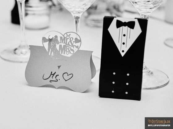 bryllupsbillede bordkort detalje