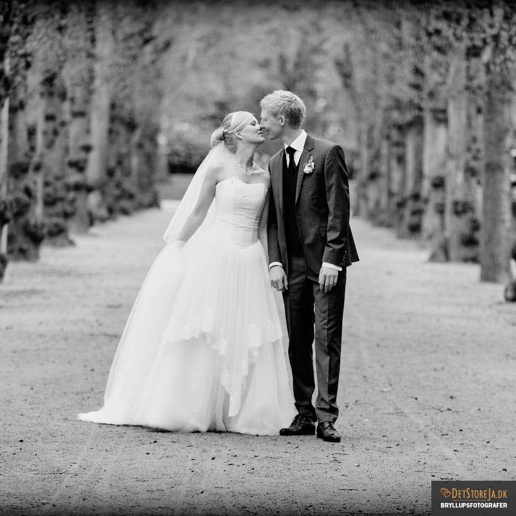 bryllupsfotograf ungt brudepar gaaende alle